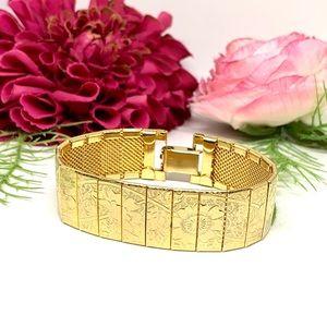 VINTAGE⚜️Golden Floral Embossed Art Deco Bracelet